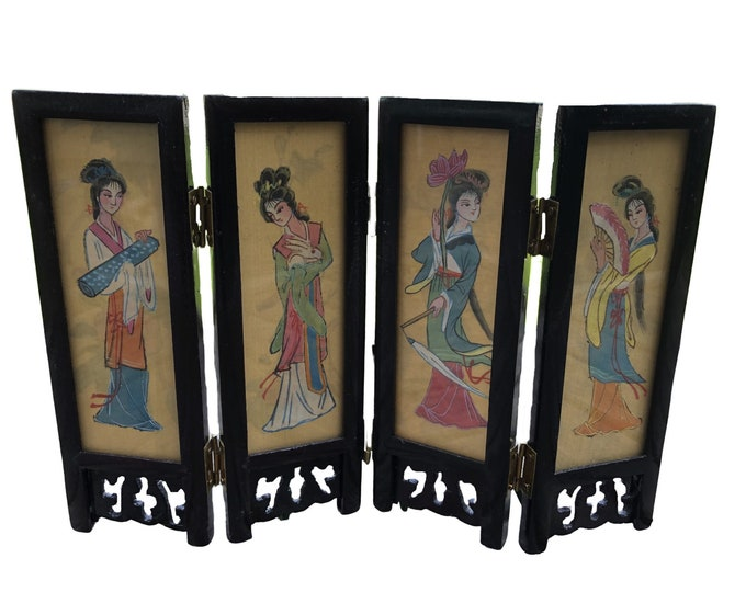 Miniature Oriental Screen - 4 Panels and double sided