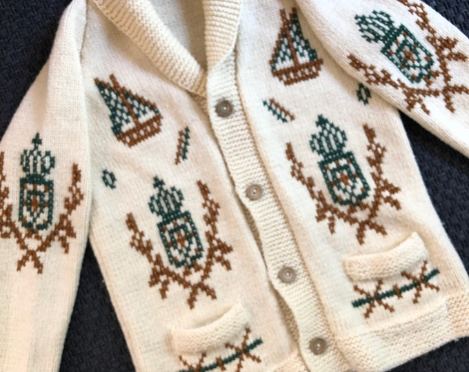 Vintage shawl collar cardigan - Handmade with crest, boat overstitching  Size M/L