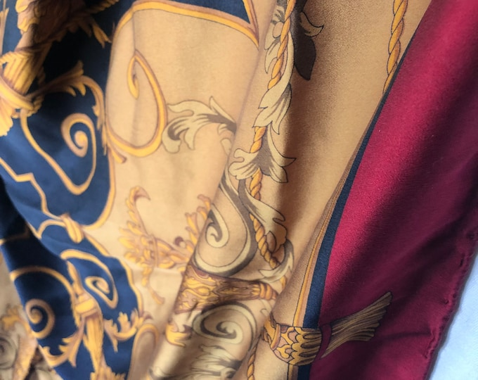 Extra Large PETER NYGÄRD  100% silk scarf. Baroque pattern gold, black with burgundy border.