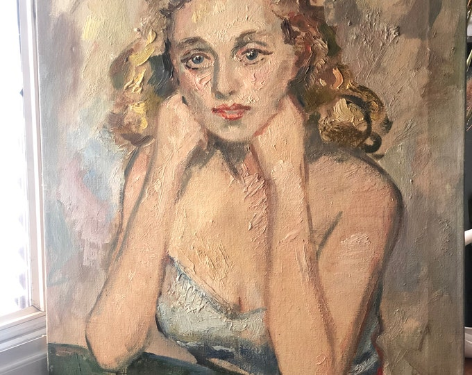 Original Oil painting/portrait of a young woman - 1950s
