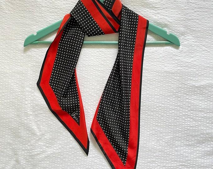 Vera Neumann long vintage scarf. Black, White & Red