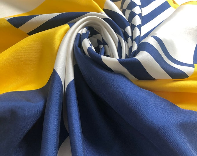 "Vintage ECHO 100% silk twill. Navy, Yellow, white 26"" square"