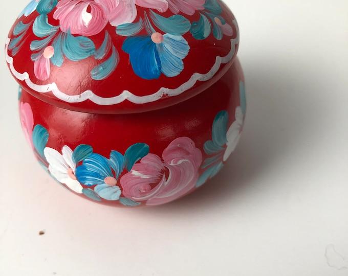 cheery round lidded wood folk art box