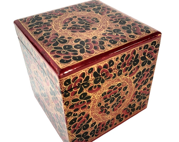 Large Vintage Cube Kashmiri Box