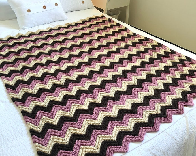 Handmade Crocheted ZigZag afghan. Brown,beige & dusty mauve. Crib/toddler