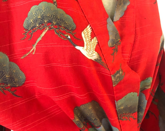 Vintage Cotton Kimono red with cranes with belt