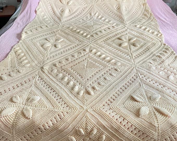Handmade Crocheted Afghan Blanket/throw. Boho neutral cream