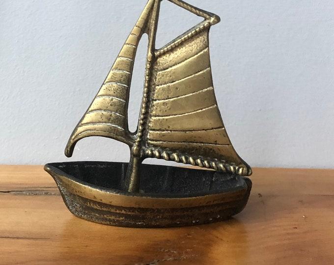 Vintage solid brass sail ship