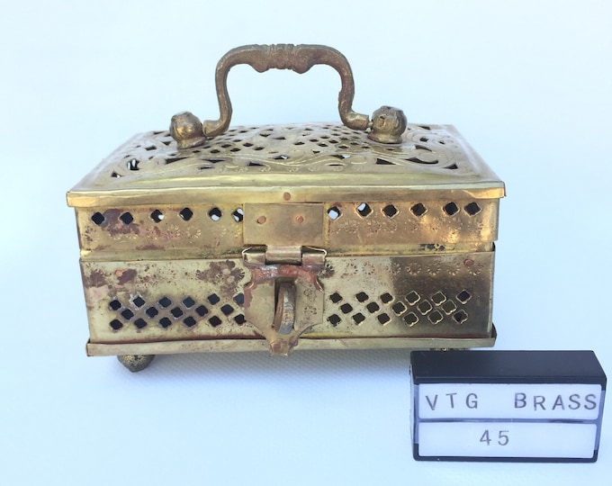 Vintage Brass rectangular cricket box, trinket box.