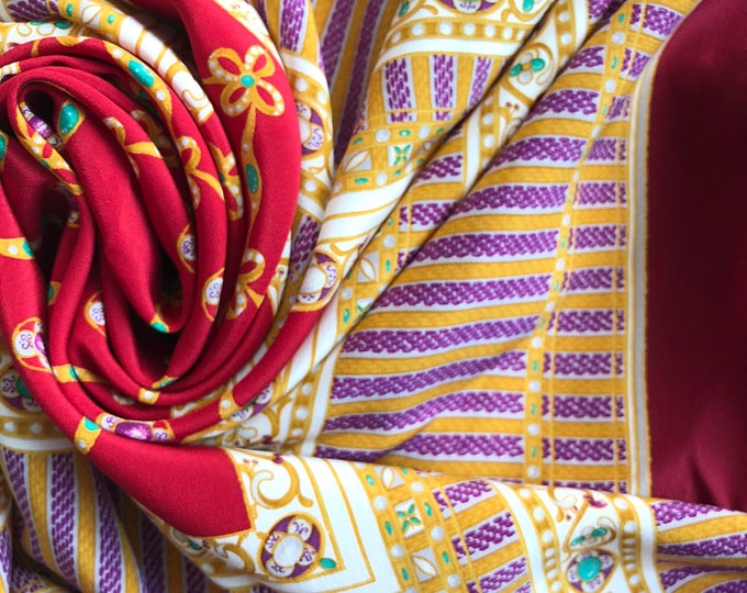 "VALENTINO Silk Square scarf 34"". Jewels and brocades in red, gold purple, green and cream"