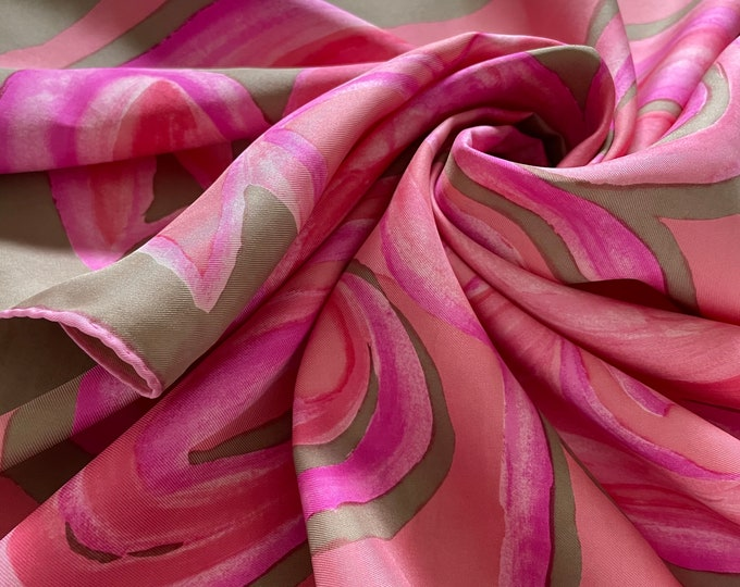 """Vintage PIERRE CARDIN silk scarf. Pink, taupe, coral mod print. 30"""" square"""