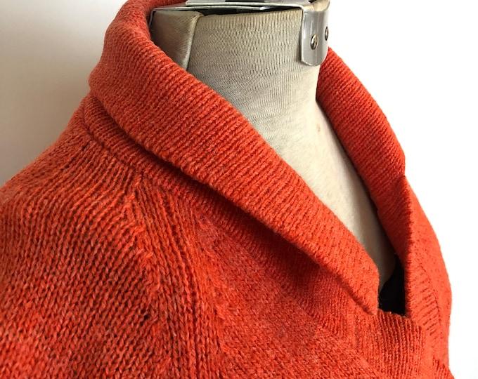 Vintage Shetland wool cardigan -  Tangerine/Orange Size M/L
