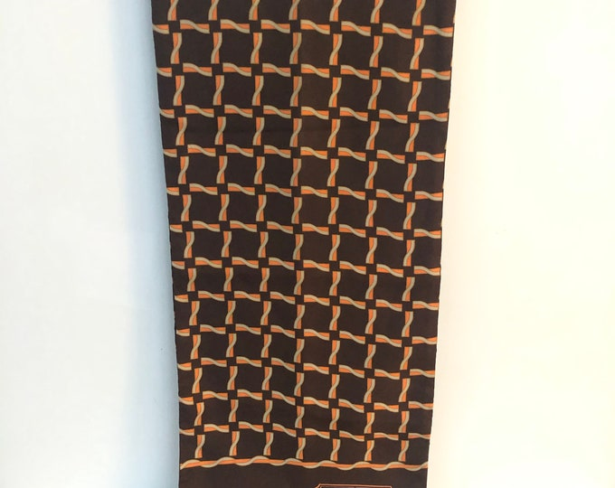 "Vintage Christian Dior Opera Scarf.  Silk with wool lining. Brown with orange & grey pattern 11"" x 52"""