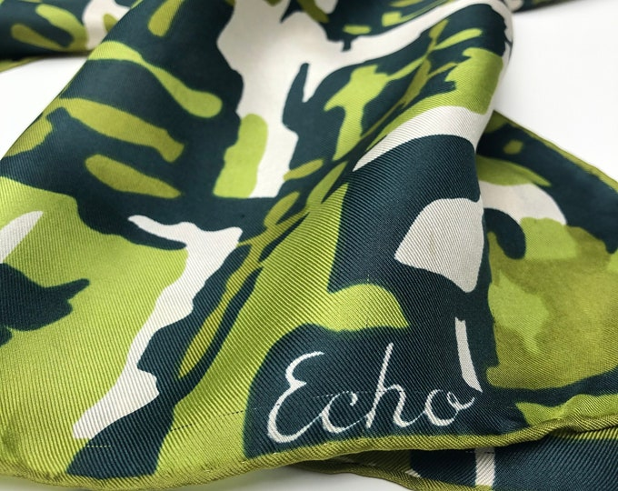 "Vintage ECHO 100% silk twill. Greens and cream 15x44"" oblong"
