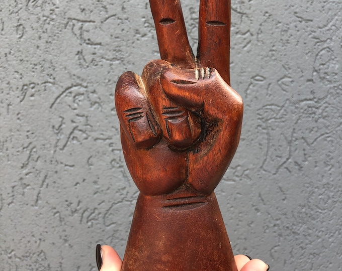 Vintage hand peace sign - hand carved 8.5""