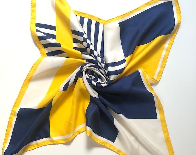 "Vintage ECHO 100% silk twill. Navy, Yellow, white 26"" square"
