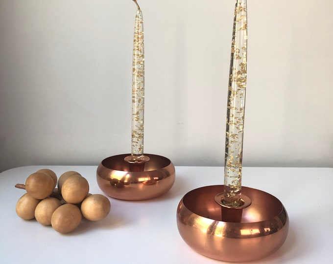 Vintage Mid century Coppercraft Guild candle holders
