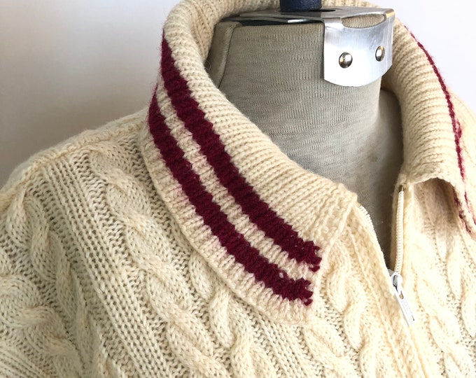 Vintage zippered cardigan - cable pattern with burgundy stripes Size S/M