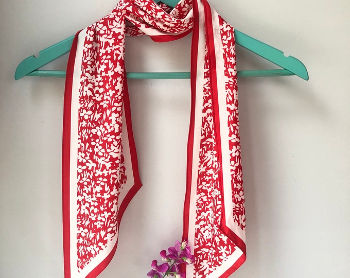 Vera Neumann long vintage scarf. red on white