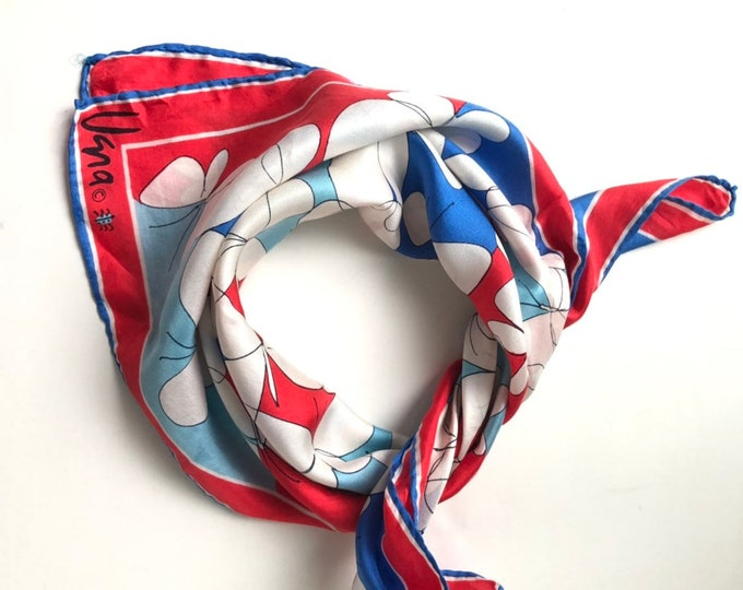 Vera Neumann square silk scarf. Red, blue, white with butterflies and hand rolled hem.