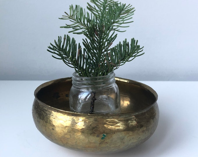 Vintage hand hammered brass singing bowl