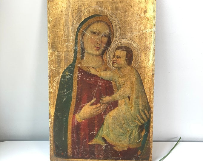 Vintage Florentine religious icon gilt Madonna and child on wood panel. 9.5x15.5