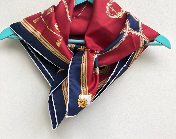 J D'Ormont vintage silk scarf. Equestrian motif in  navy, burgundy, cream  and gold. 30.5 x 30.5""