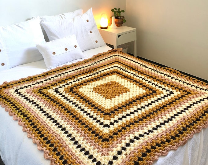 Handmade Crocheted square throw. Mustard, brown, taupe & cream