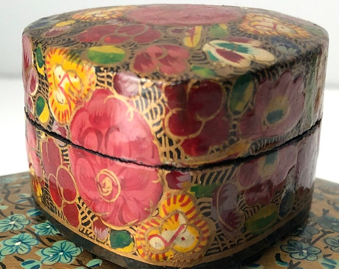 Vintage heart shaped  Kashmiri lidded box with floral design