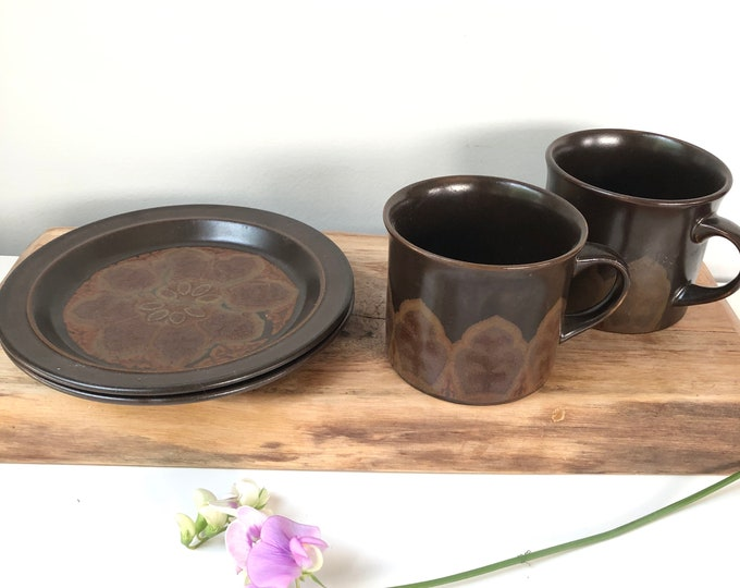 Royal Doulton Marbella 1970s coffee cups/side plates. Brown.