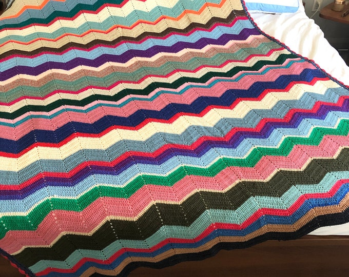Handmade Crocheted Afghan Blanket/throw. Multicolour zigzag