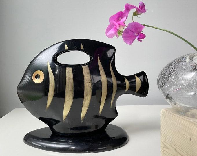 Vintage Black Gold Angel Fish Vase. Made in Japan
