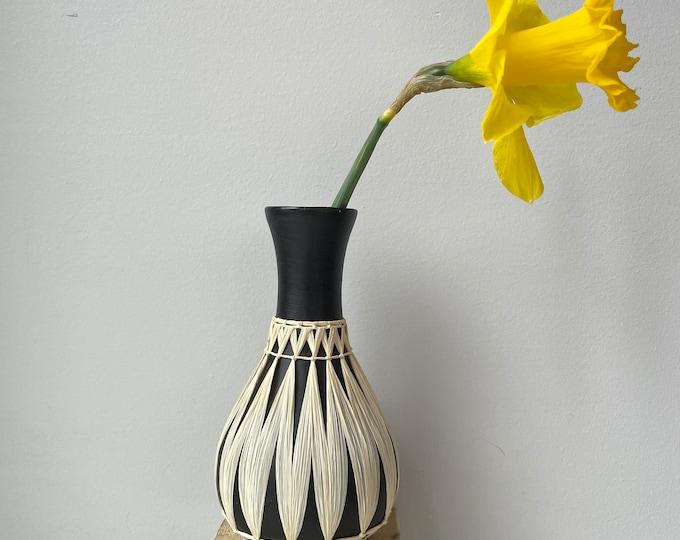 Vintage Gmundner Keramik Raffia Wrapped Vase