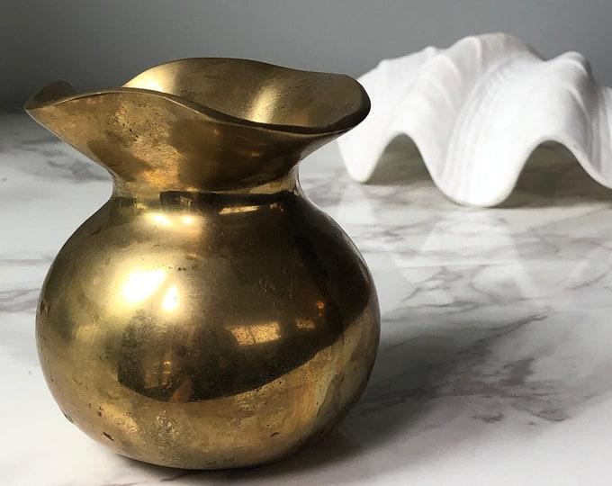 Vintage brass sack vase - heavy