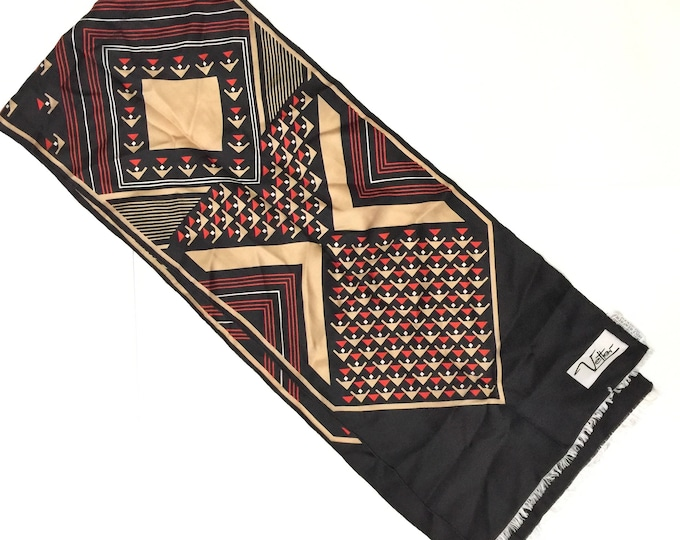 "1970s VETTER (switzerland) 100% silk, oblong 10"" x 52"" geometric design. Black/red/taupe. Classic."