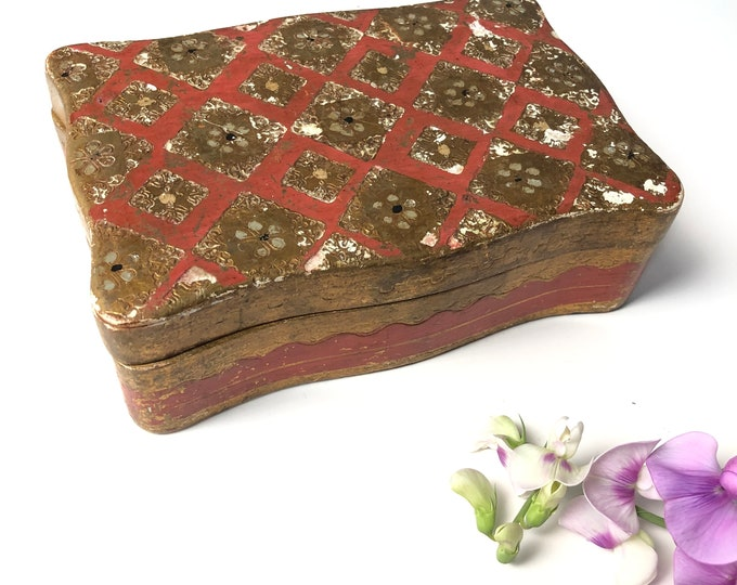 Vintage Rectangular Florentine Hinged Box