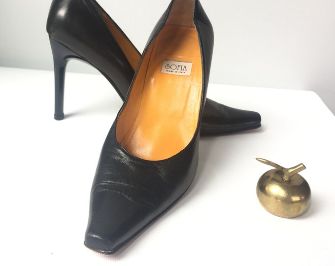 "SOFIA vintage black leather pumps with 4"" shiny lucite heels"
