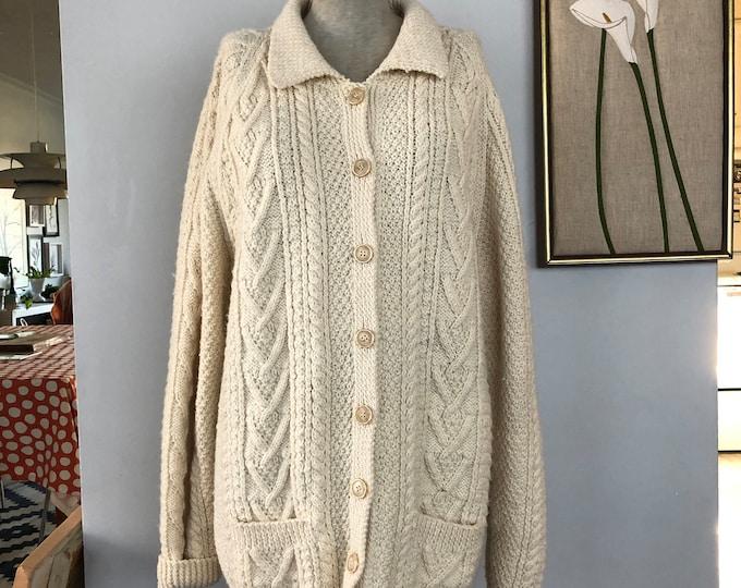 Vintage Hand Knit Irish Fisherman Cardigan - Unisex M-XL