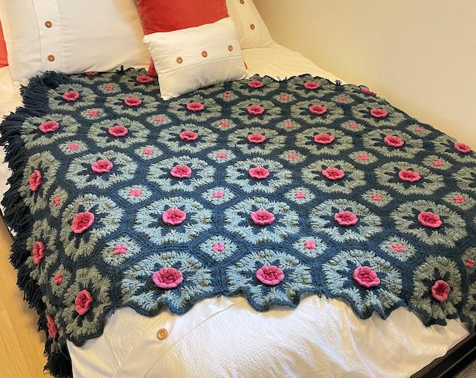 Handmade Crocheted Afghan Blanket/throw. Dark/Light blue with raised/ 3D Dark/Light Pink flowers