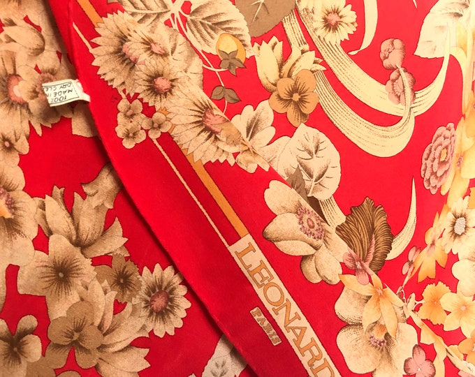 "Vintage LEONARD Paris 25"" square red crepe silk scarf with flowers and leaves"