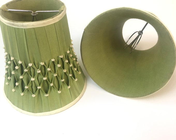 Pair of vintage candle/sconce lamp shades. Pinched, tufted, pleated.