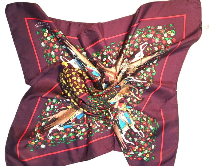 "VINTAGE Courvoisier 100% Silk Scarf 34"" by Andrè Claude Canova Made in France. Burgundy"