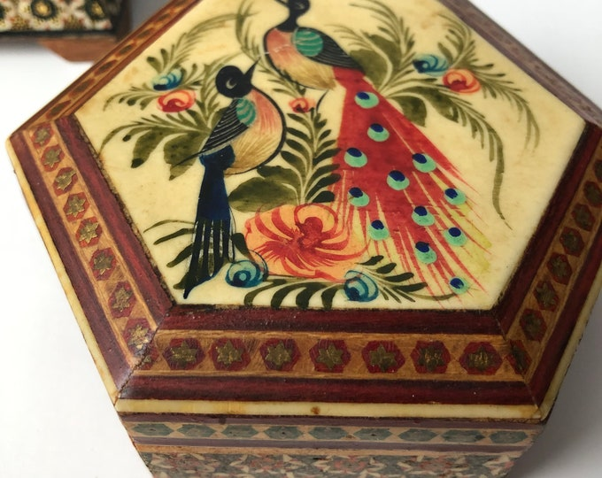 Vintage hexagonal marquetry box with peacock design