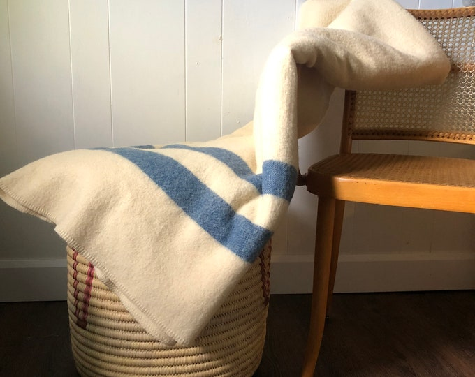 Bates & Innes cream and blue Vintage Wool Mothproofed Blanket Limited Edition 1952