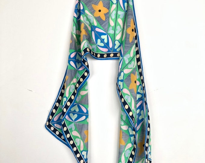 vera Neumann silk oblong  scarf. Green, blue, yellow, pink