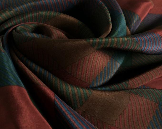 """Jaeger vintage silk scarf. Dark burgundy, navy, green. 28.5 x 28.5"""""""