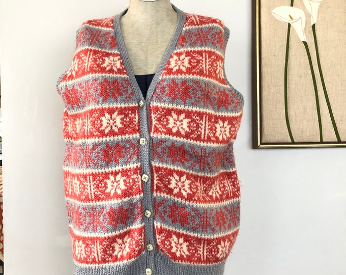 Vintage button closure hand knit wool vest. Red,cream and grey.