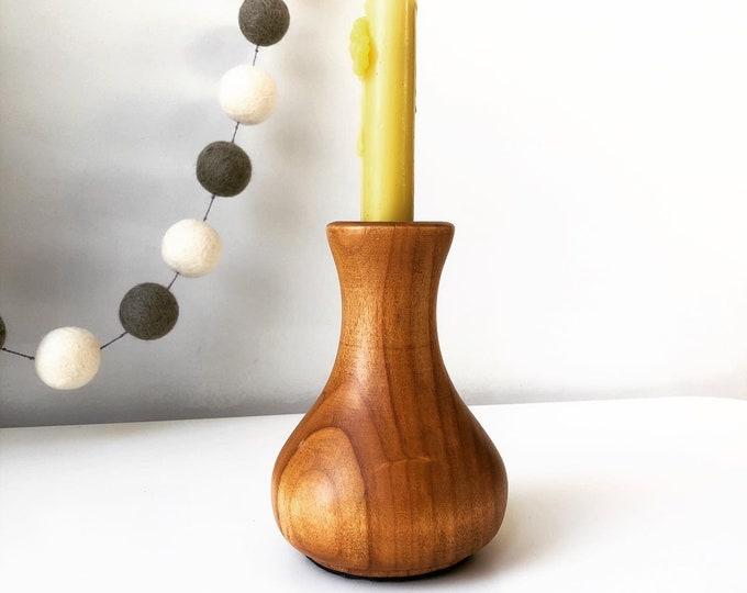 Turned wood vase/candleholder