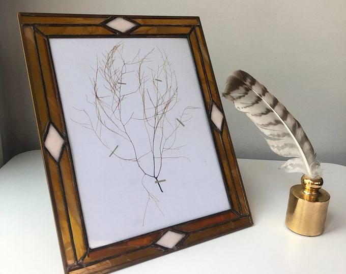 Vintage stained glass art deco frame -leaded with amber glass,  copper edges.