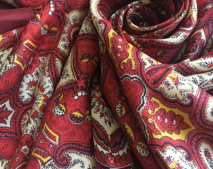 Vintage Liberty of London large 100% Silk Scarf Burgundy,yellow,cream with border
